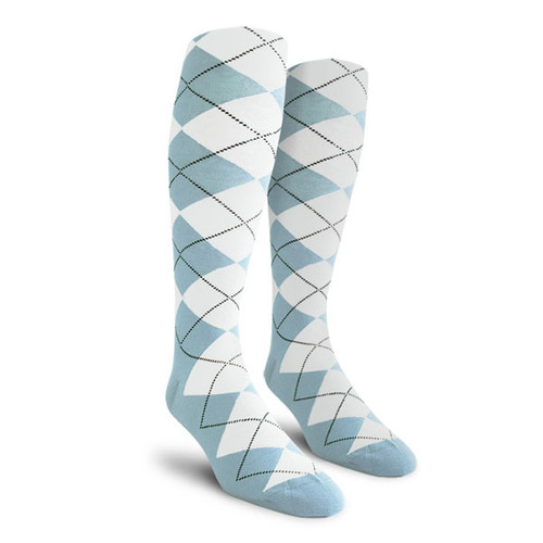 Argyle Socks - Mens Over-the-Calf - EE: Light Blue/White