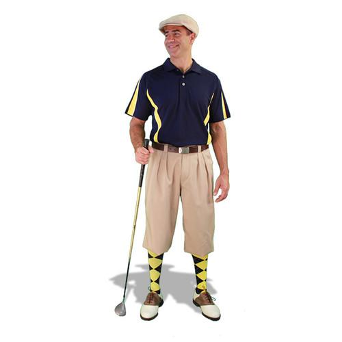 Mens Khaki, Navy & Yellow Golf Outfit