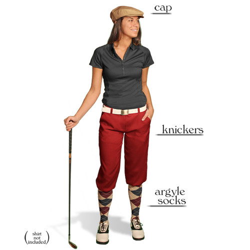 Golf Knickers - Ladies Maroon Start-in-Style Outfit