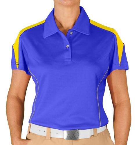 Ladies Caddie Golf Shirt - Royal/Yellow
