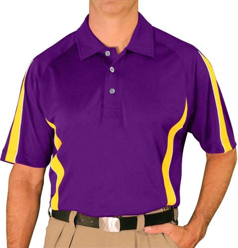 Mens Eagle Golf Shirt - Purple/Yellow