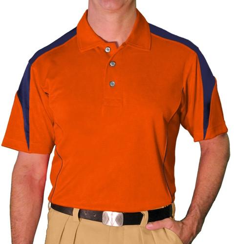 Mens Caddie Golf Shirt - Orange/Navy