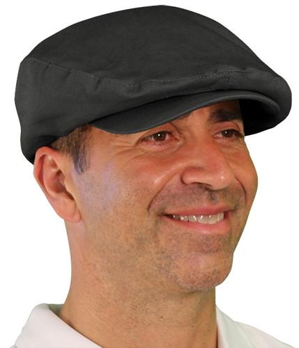 Golf Cap - 'Par 4' Mens Black Cotton/Ramie