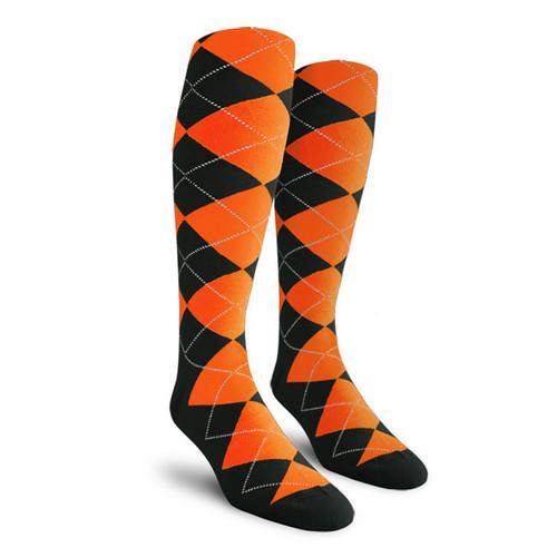 Argyle Socks - Mens Over-the-Calf - YY: Black/Orange