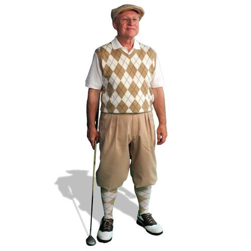 Mens Khaki & White Sweater Golf Outfit