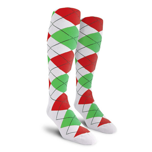 Argyle Socks - Mens Over-the-Calf - UUUU: White/Lime/Red