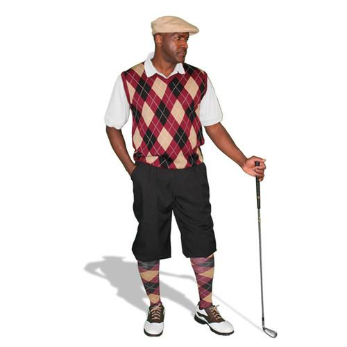 Mens Black, Maroon & Khaki Sweater Golf Outfit