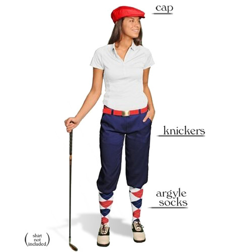 Golf Knickers - Ladies Navy Start-in-Style Outfit
