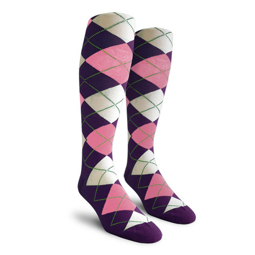 Argyle Socks - Mens Over-the-Calf - OOO: Purple/Pink/White