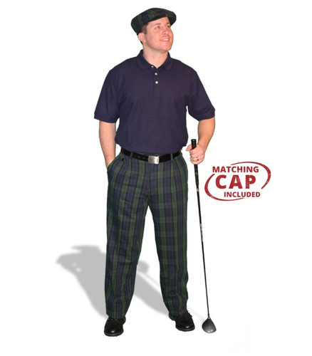 Mens Black Watch & Navy Pant Golf Outfit