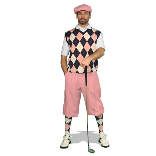 Mens Pink, Purple & White Sweater Golf Outfit