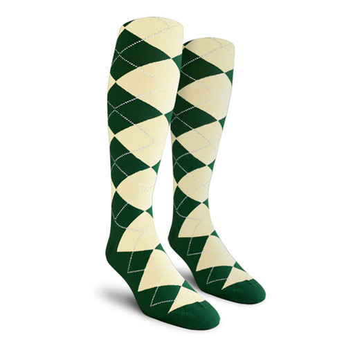 Argyle Socks - Ladies Over-the-Calf - CCC: Dark Green/Natural