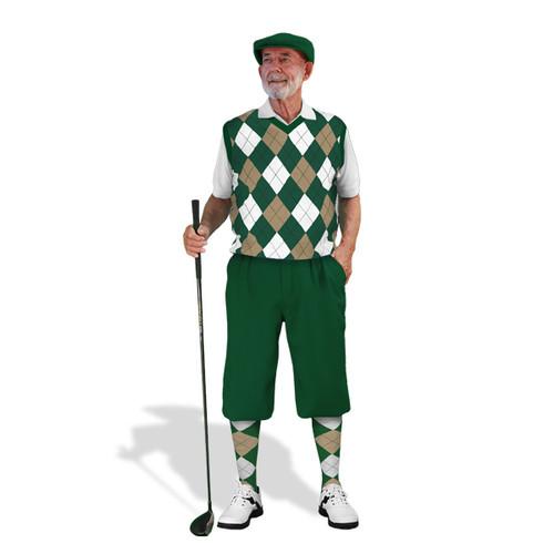 Mens Dark Green, Khaki & White Sweater Golf Outfit