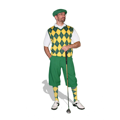 Mens Dark Green & White Sweater Golf Outfit