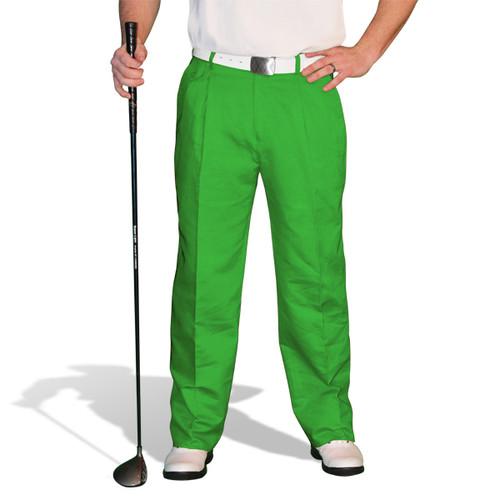 Golf Trousers - 'Par 4' Mens Lime Cotton/Ramie