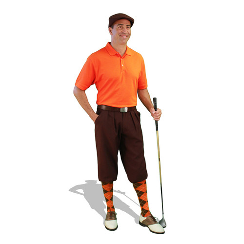Mens Brown and Orange Golf Outfit
