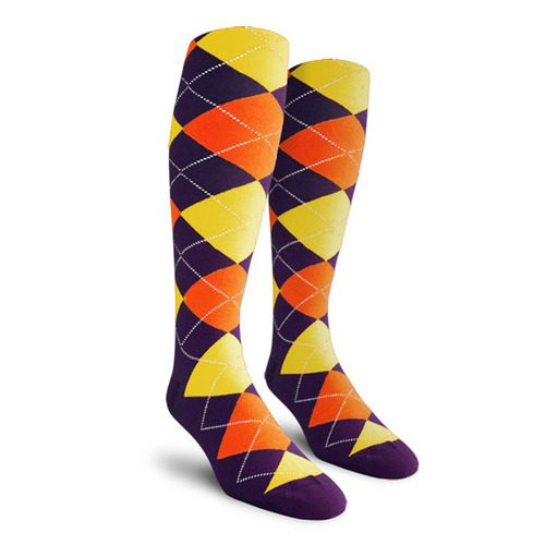 Argyle Socks - Mens Over-the-Calf - IIII: Purple/Orange/Yellow