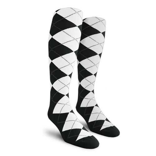 Argyle Socks - Ladies Over-the-Calf - L: Black/White