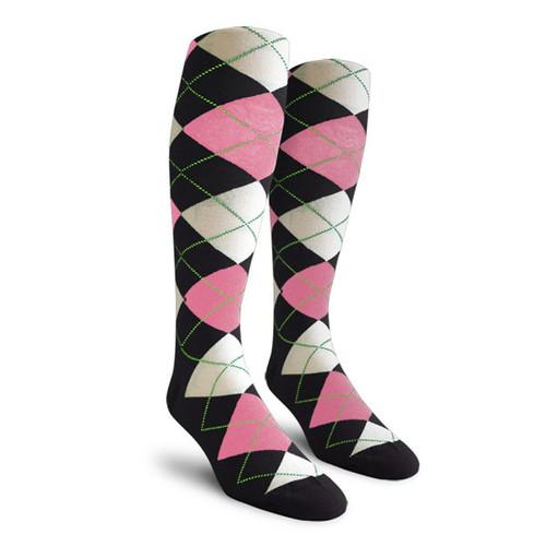 Argyle Socks - Mens Over-the-Calf - PPP: Black/Pink/White