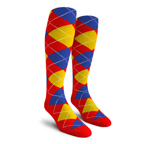 Argyle Socks - Youth Over-the-Calf - 5B: Red/Yellow/Royal