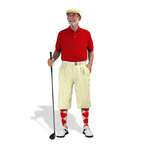 Mens Natural & Red Golf Outfit