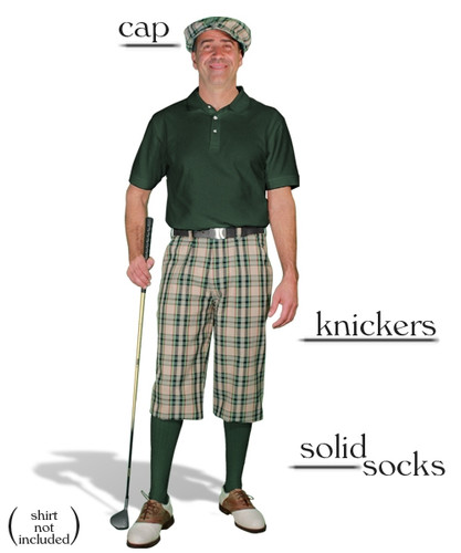 'Par 5' Khaki Stewart Plaid Start-in-Style Outfit