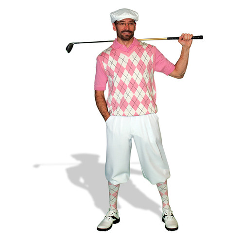 Mens White & Pink Sweater Golf Outfit