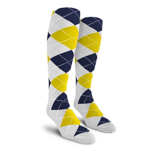 Argyle Socks - Ladies Over-the-Calf - 5O: White/Yellow/Navy