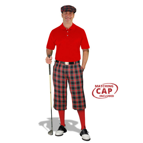 Golf Outfit - Mens Navy Stewart & Red