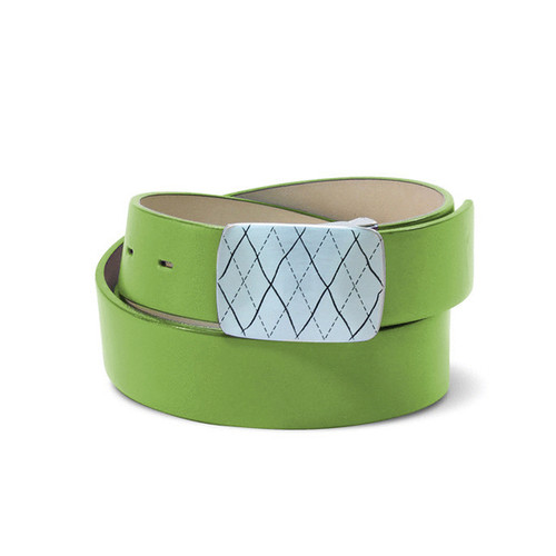 Couture Leather Mens Golf Belt - Lime
