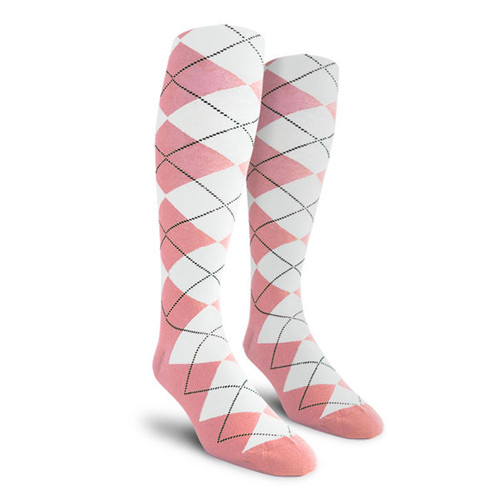 Argyle Socks - Youth Over-the-Calf - FF: Pink/White