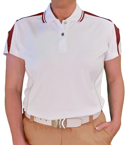 Ladies Wedge Golf Shirt - White/Maroon