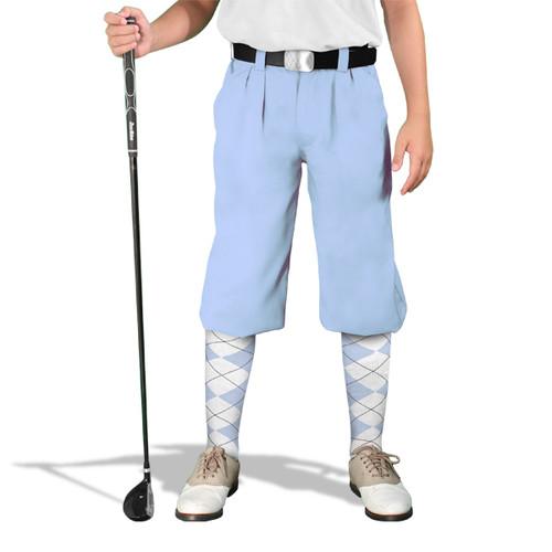 Golf Knickers - 'Par 3' Youth Light Blue Microfiber