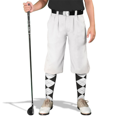Golf Knickers - 'Par 3' Youth White Microfiber