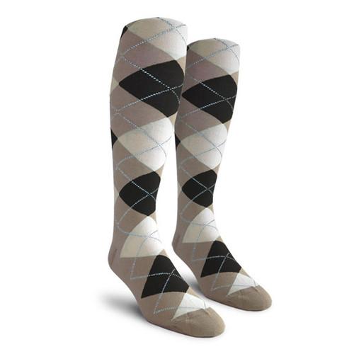 Argyle Socks - Ladies Over-the-Calf - XXX: Taupe/Black/White