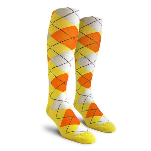 Argyle Socks - Mens Over-the-Calf - TTT: Yellow/Orange/White