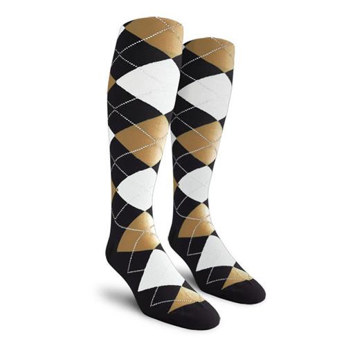 Argyle Socks - Ladies Over-the-Calf - MMMM: Black/Khaki/White