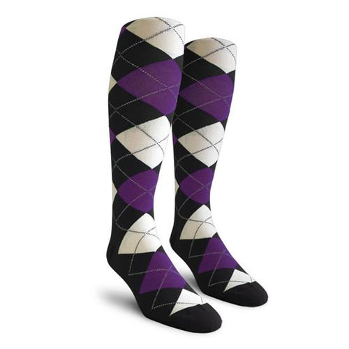 Argyle Socks - Ladies Over-the-Calf - OOOO: Black/Purple/White