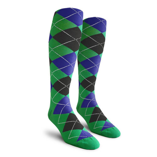 Argyle Socks - Youth Over-the-Calf - III: Lime/Black/Royal