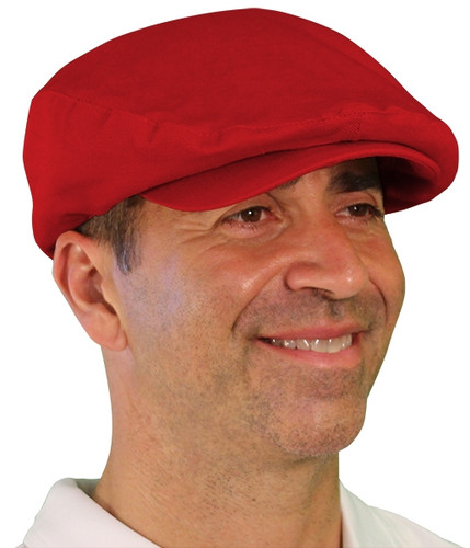 Golf Cap - 'Par 4' Mens Red Cotton/Ramie