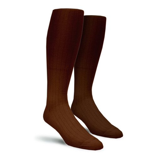 Solid Socks - Mens Over-the-Calf Brown