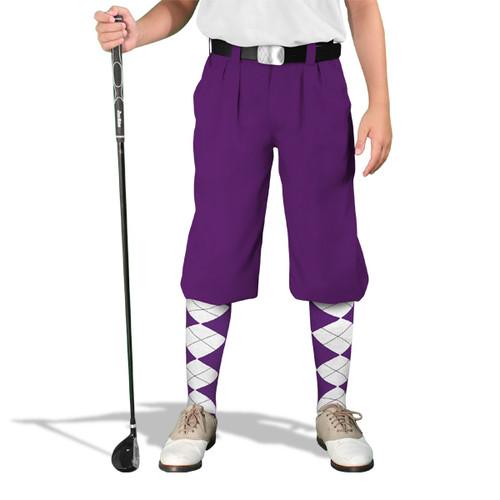 Golf Knickers - 'Par 4' Youth Purple Cotton