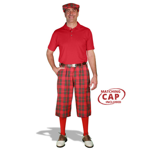 Golf Outfit - Mens Royal Stewart & Red