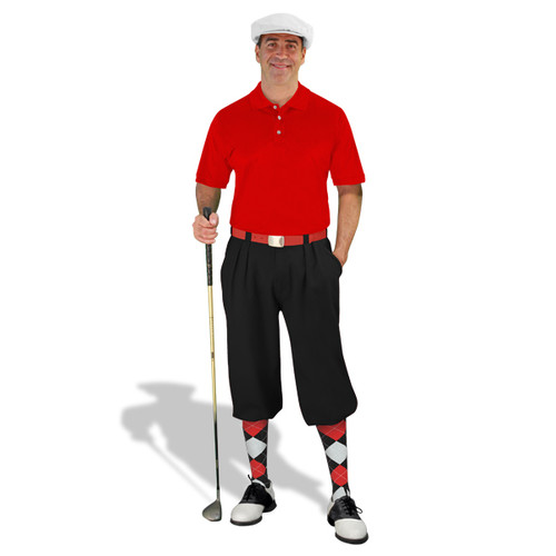 Mens Black, Red & White Golf Outfit