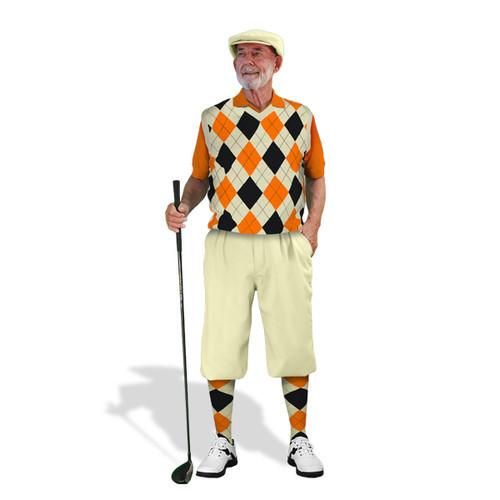 Mens Natural, Orange & Black Golf Outfit