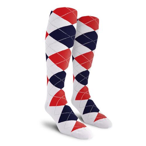 Argyle Socks - Ladies Over-the-Calf - E: White/Navy/Red