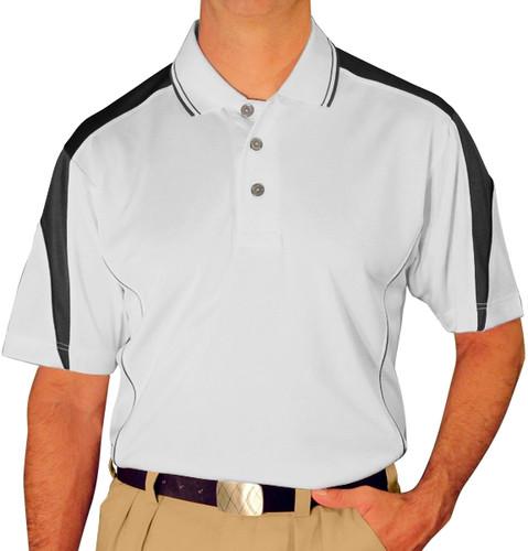 Mens Wedge Golf Shirt - White/Black