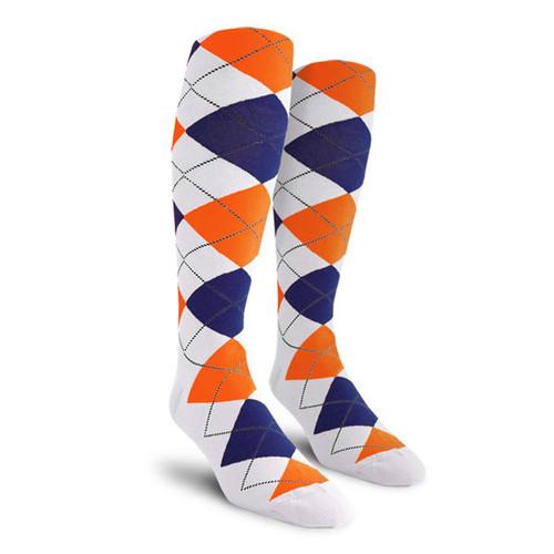 Argyle Socks - Ladies Over-the-Calf - RRRR: White/Royal/Orange