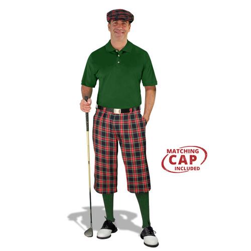 Golf Outfit - Mens Navy Stewart & Dark Green