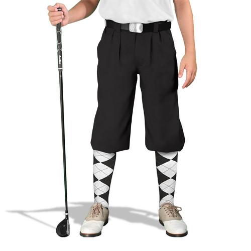 Golf Knickers - 'Par 3' Youth Black Microfiber